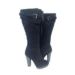 Charles David Suede Fold Over Lace Up Front Platform Boots Chunky Heel Black 8